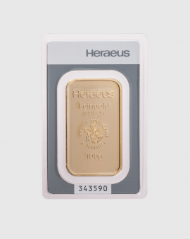 100 gram Heraeus Guldtacka