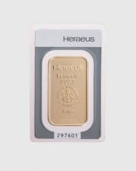 50 gram Heraeus Guldtacka