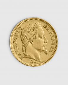 5,81 gram Fransk 20 Franc Napoleon III Guldmynt