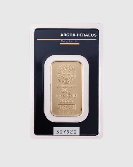 20 gram Argor Heraeus Guldtacka