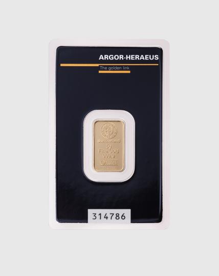 5 gram Argor Heraeus Guldtacka